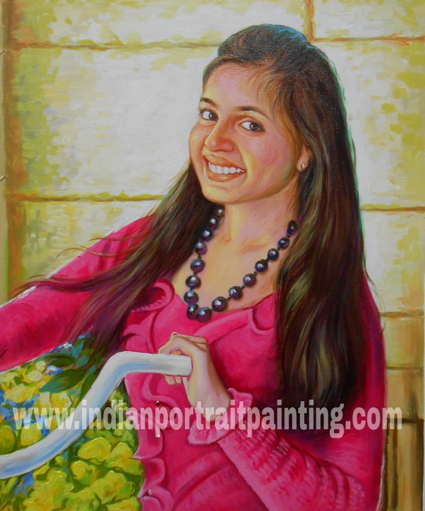 Oil portrait painting from photo on canvas