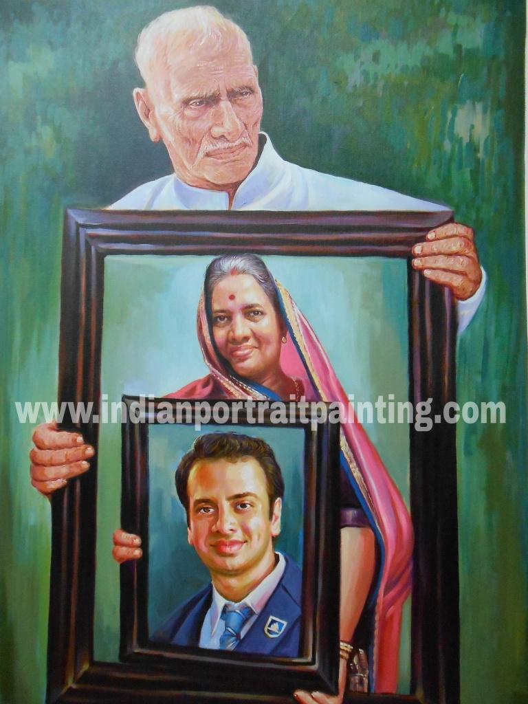 Creative oil portrait painnting for family