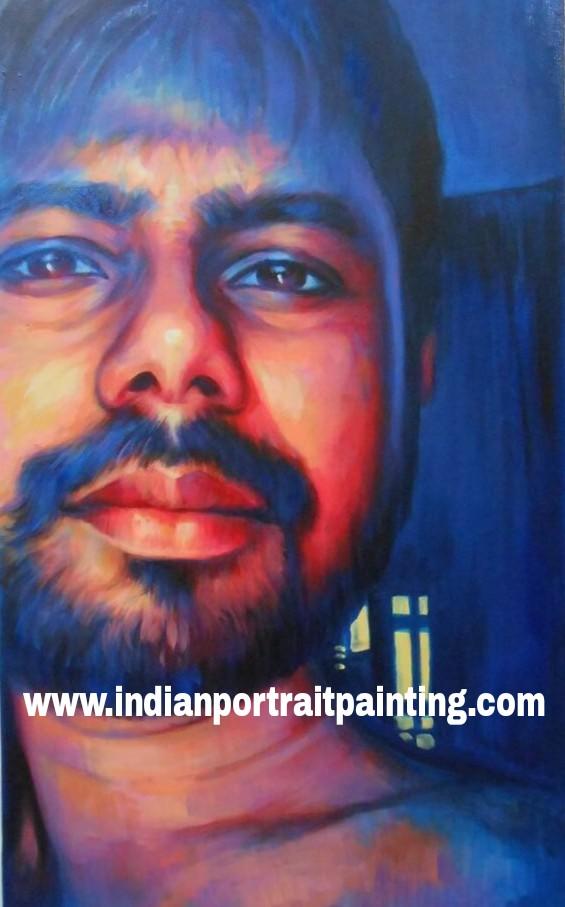 Contemporary modern art portrait painting