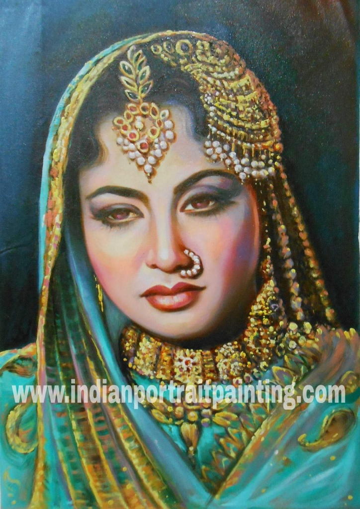 Life oil canvas portrait painting of Indian celebrity