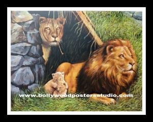 Personalized hand drawn animals portrait painting artist - Lion
