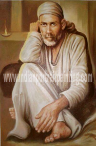 Sai baba oil portrait painting on canvas