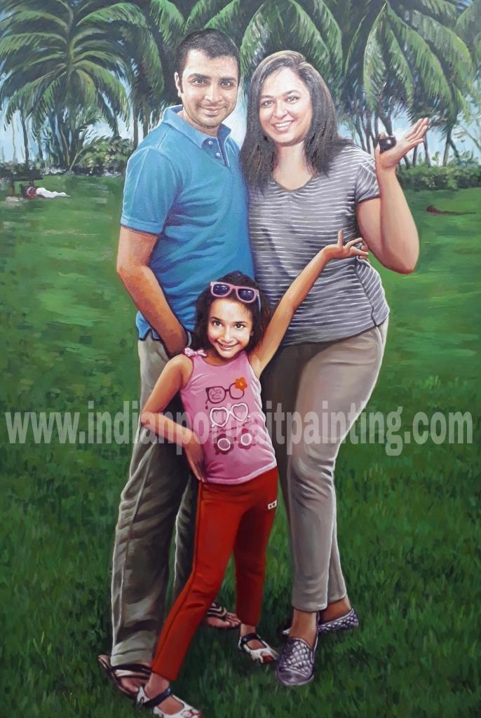 Unique family hand painted portraiture
