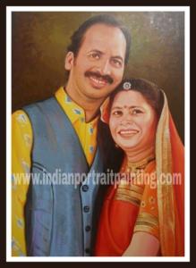 oil canvas couple portrait painting