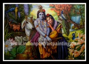Original hand painted Radha Krishna painting