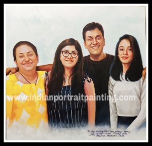 Personalised canvas portrait painting for family