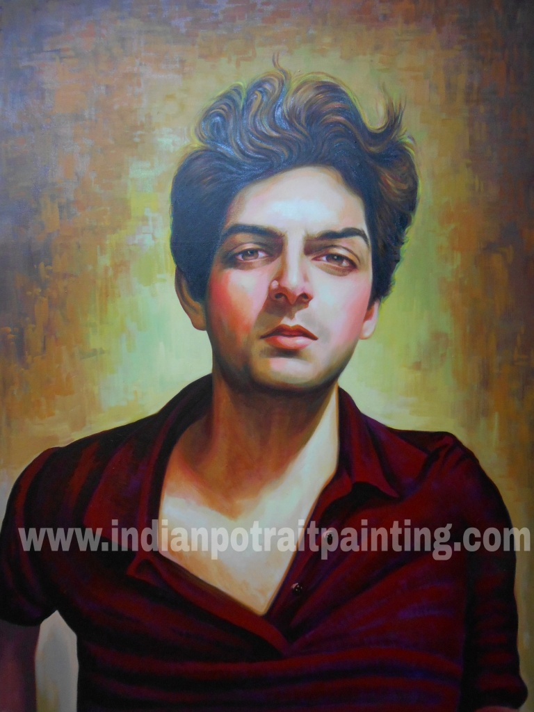 Original custom made portrait on oil canvas
