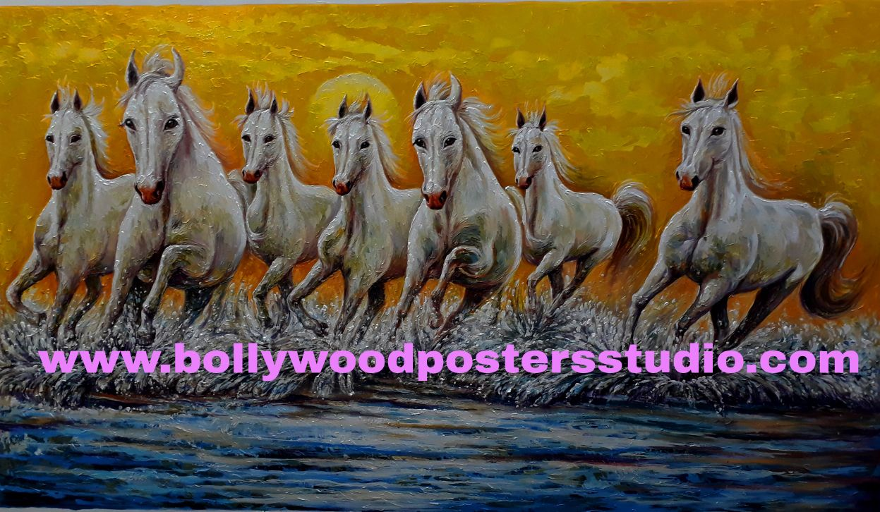 7 horse good luck painting on canvas