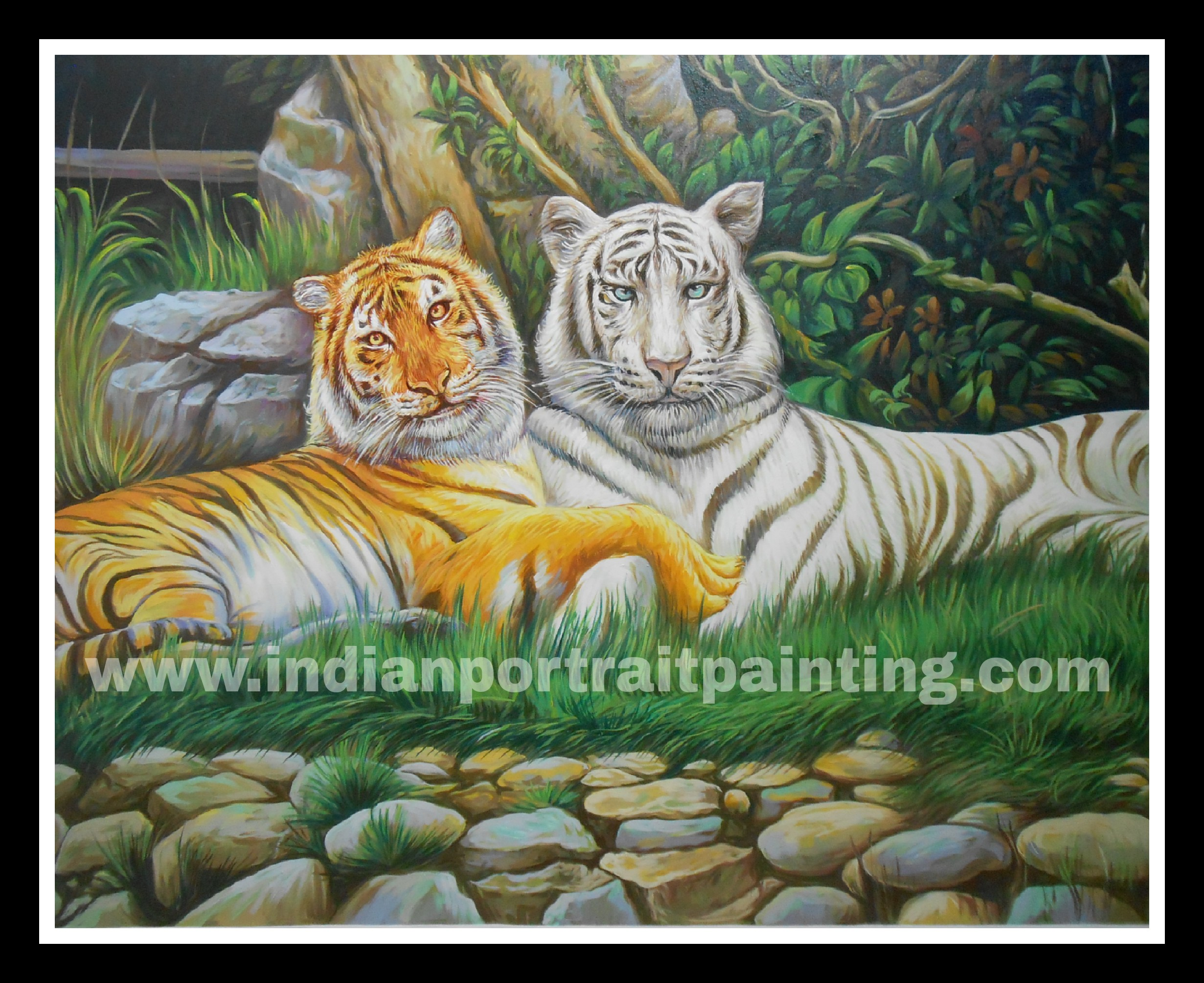 Customised animals portrait paintings on oil canvas - Tiger