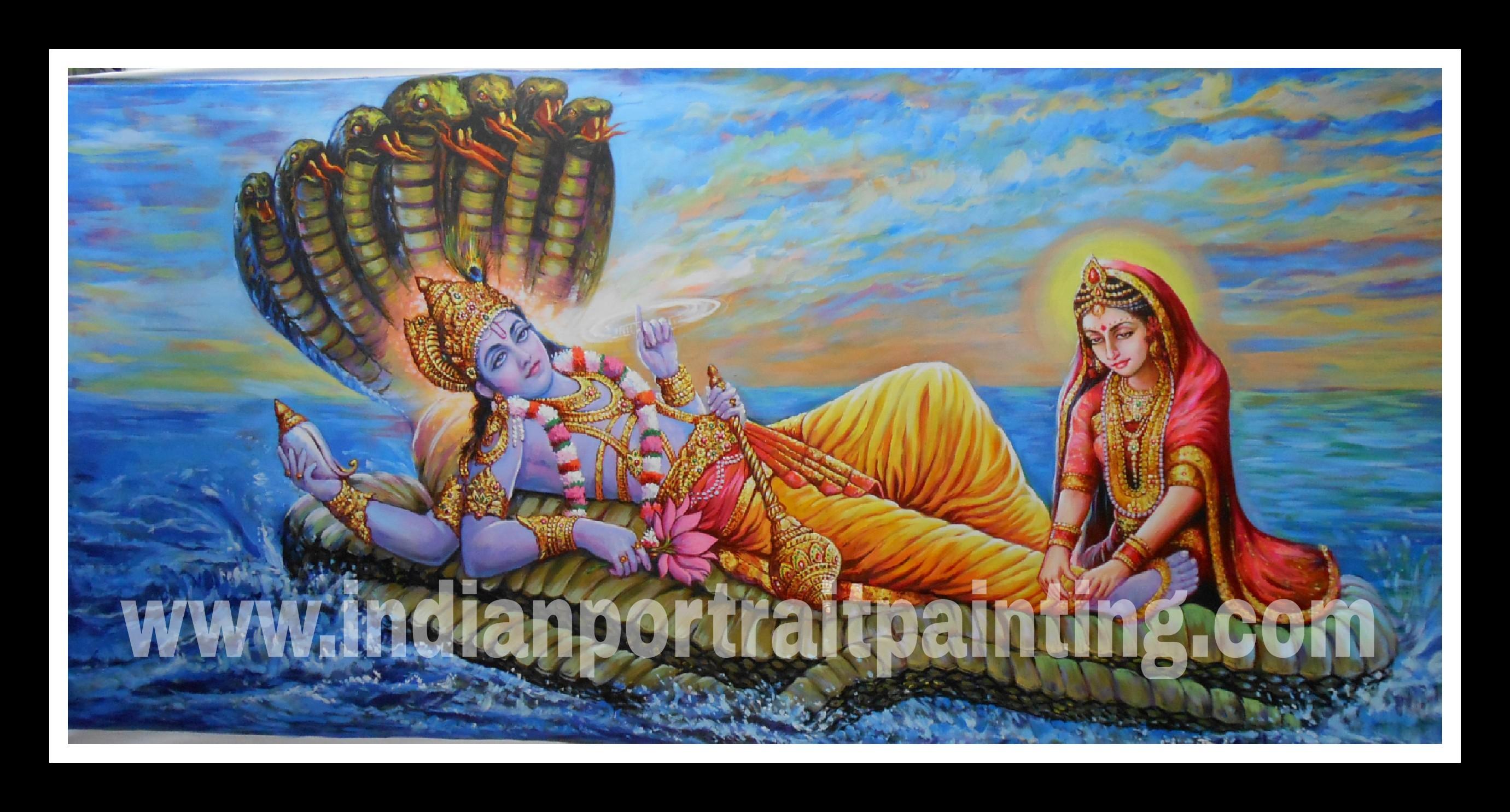 Lord Vishnu oil painting on canvas