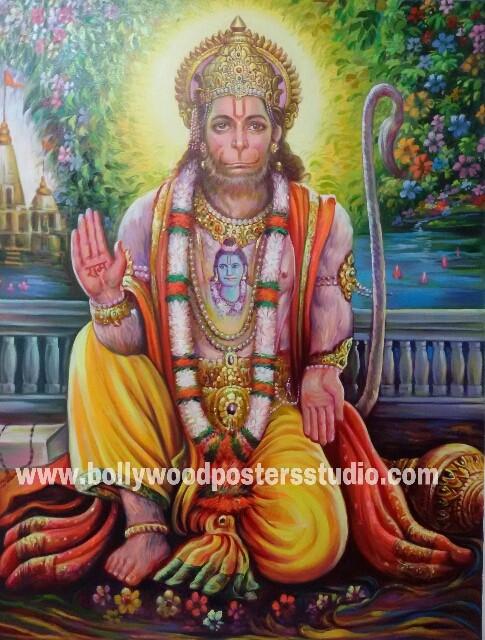 Original hand painted Hanuman ji on canvas