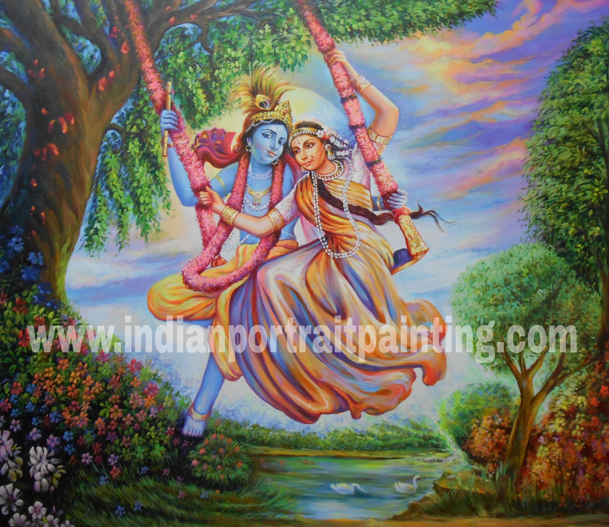 Radha Krishna on swing portrait painting