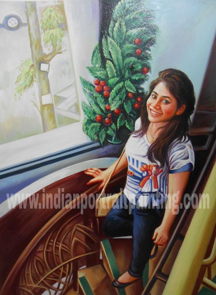 Realistic portrait hand drawn on oil canvas