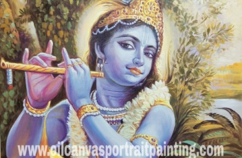 Krishna playing flute paintings