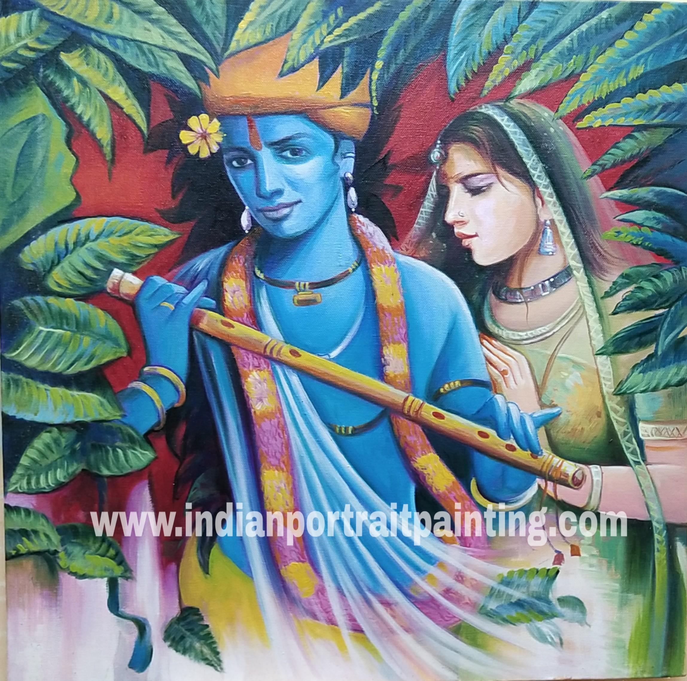 Oil canvas lord Krishna paintings