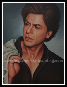 Hand painted portrait Shah rukh Khan