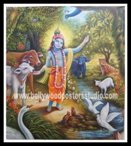 Canvas oil painting Krishna hand painted