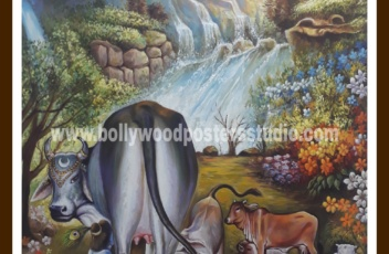 Canvas oil painting Krishna with cow