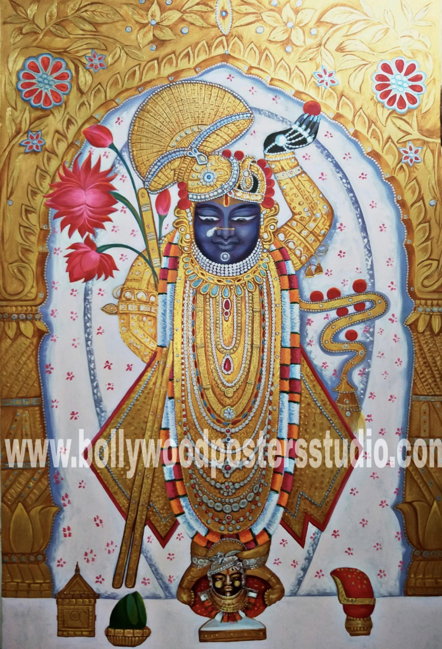 Hindu god shreenathji oil painting