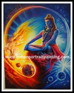 Oil canvas Shiva original knife art painting