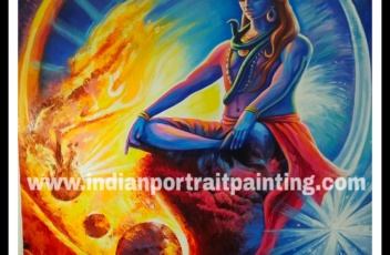 Oil canvas Shiva original knife art painting