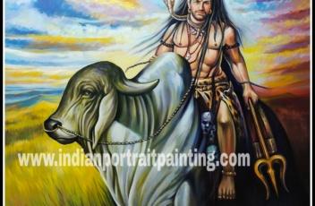 Oil canvas lord Shiva original painting