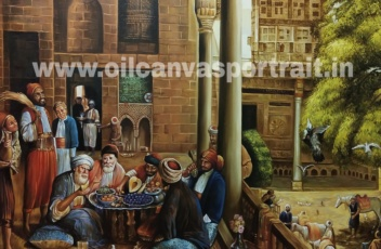 canvas oil painting - hand painted arabian painting