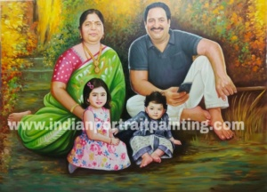 Customized your own realistic oil portrait for family