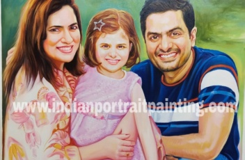 Family portrait painting - perfect home decor