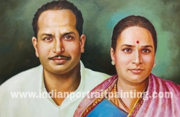 Oil on canvas portrait - special anniversary gift for mom & dad in-laws