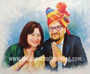 Portrait oil canvas original traditional indian