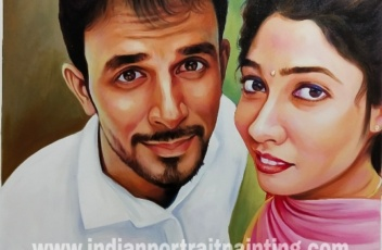 Portrait painting on canvas for couple from selfie photo